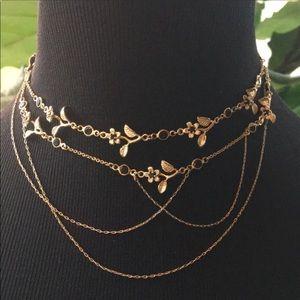 Free People Golden Floral Garden Necklace